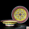 A fine and exceptionally rare pair of yellow-ground famille rose pierced rim dishes, qianlong period (1736-1795)