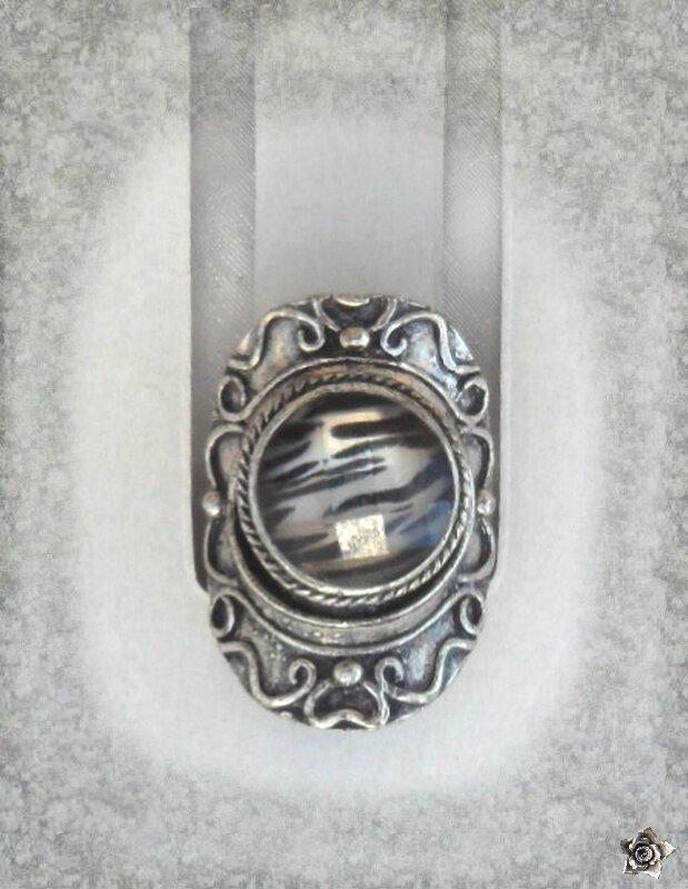 Bague Ciselée Style Vintage Yeva Perle Facettée Motif Tigre Argent Du Tibet