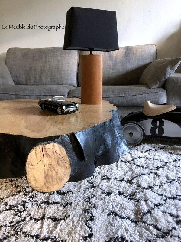 idée déco table rondin de bois au salon