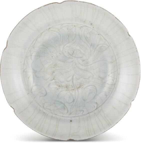 A Qingbai 'peony' lobed dish, Northern Song dynasty