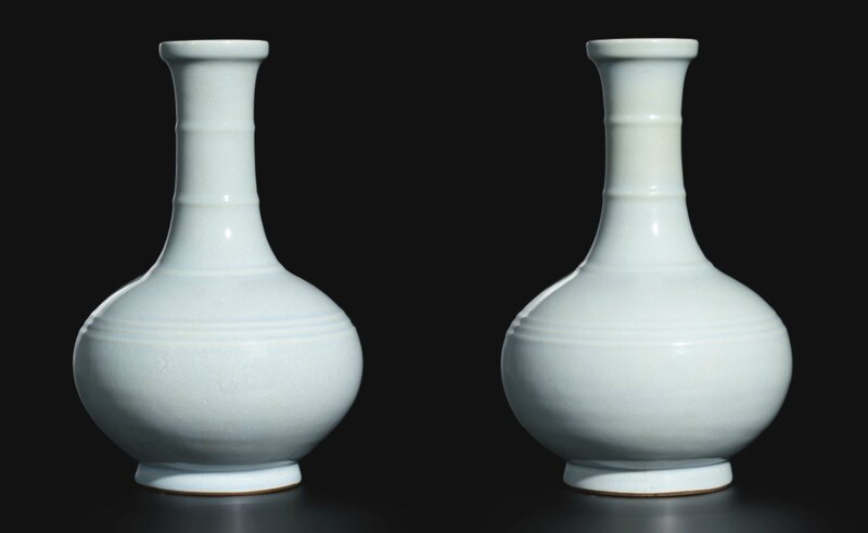 A pair of large ru-type bottle vases, Qing dynasty, Qianlong period