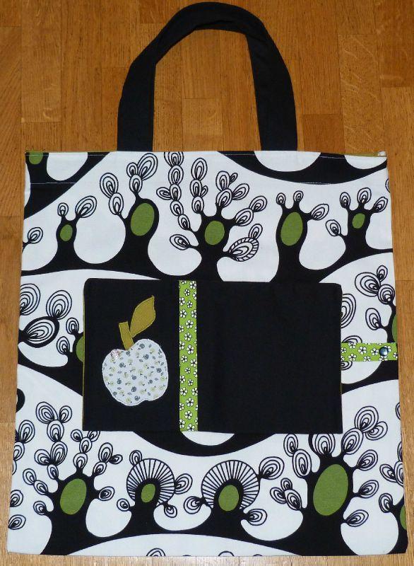 24. sac pliable en tissu - appliqué pomme