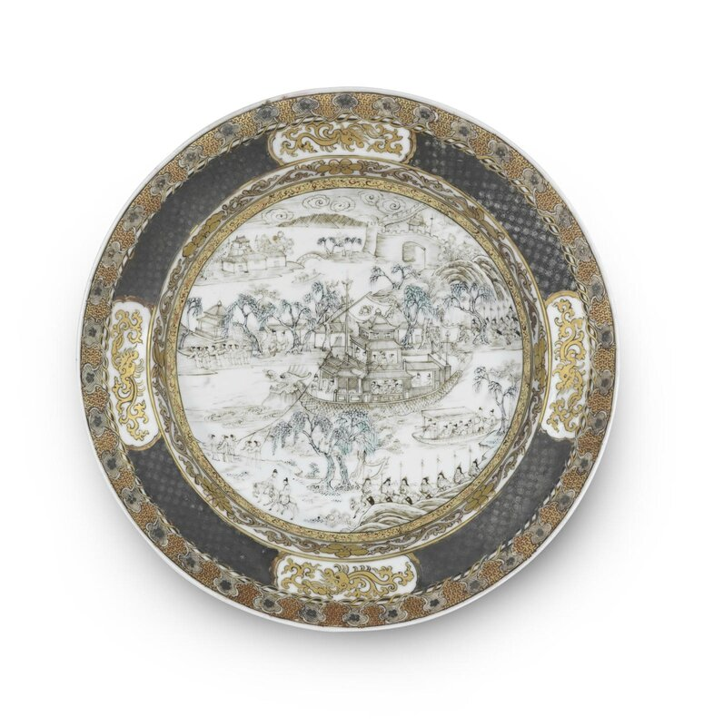 A gilt and grisaille-decorated ruby-back 'dragon boat' dish, Yongzheng period (1723-1735)