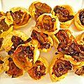 mini tartelettes feuilletées au fenouil/orange et coriandre
