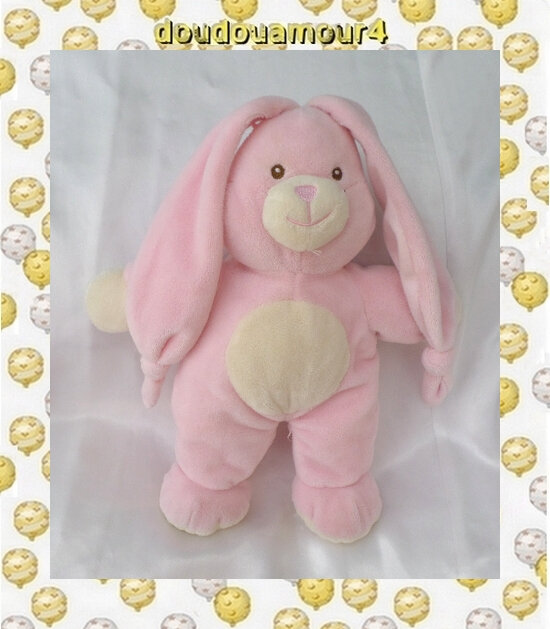 Doudou Peluche Lapin Rose Rond Blanc Gipsy