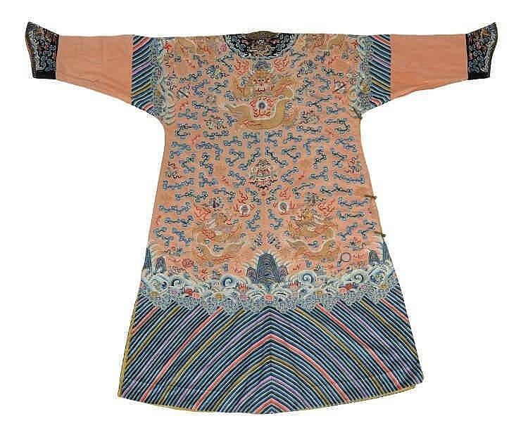 A rare embroidered Imperial apricot ground twelve symbols dragon robe, jifu, 19h century2