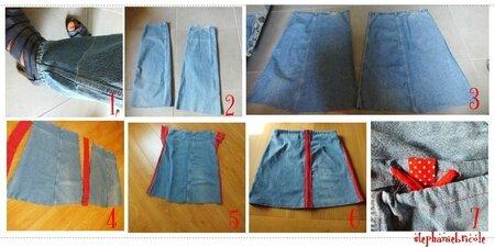 faire une jupe avec un pantalon, idée couture recup, diy reconstructing