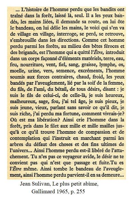Jean Sulivan, extrait du Plus petit abîme