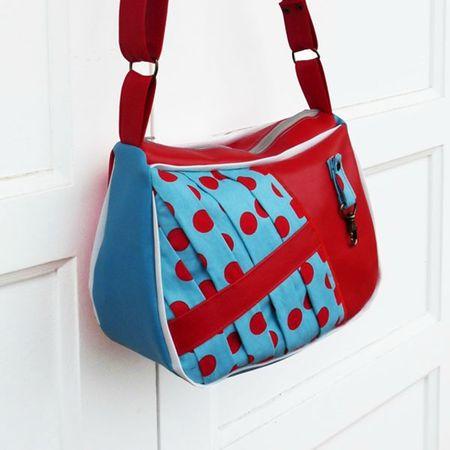 sac colco bleu ciel à pois rouge froissé 1 600 6005