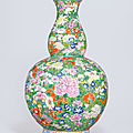 An extremely rare and massive famille rose mille fleurs double-gourd vase, qianlong six-character seal mark and of the period