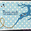 Un renne bleu ... des strass ... des pois ... une touche de broderie jaune ... une carte de voeux hivernale !