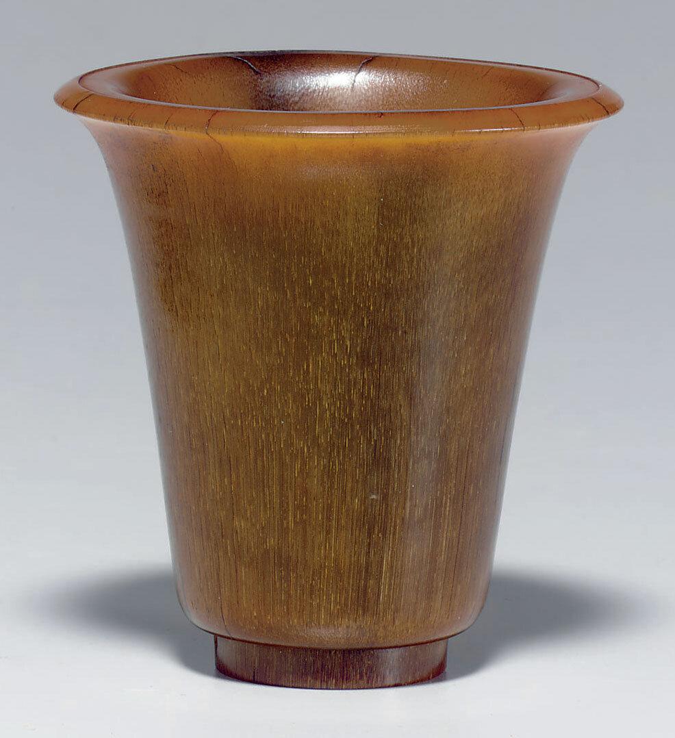 A rhinoceros horn wine cup, Ming dynasty (1368-1644)