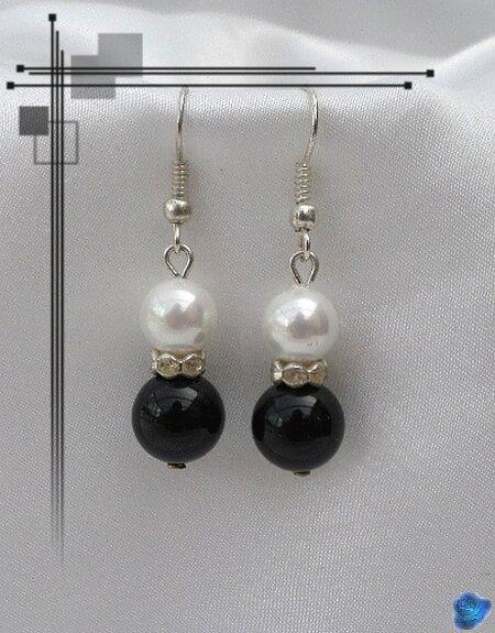 Boucles d'Oreilles Osiris Perles Onyx Noir Et Nacrée Blanc Rondelle Strass Crystal Argent Du Tibet