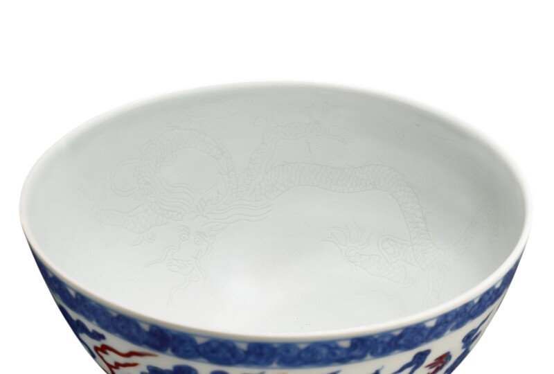 An extremely rare doucai and anhua-decorated 'dragon' bowl, Mark and period of Zhengde (1506-1521)