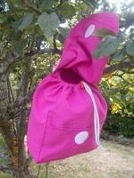 Sac à dos crèche rose rabat coton enduit (2)