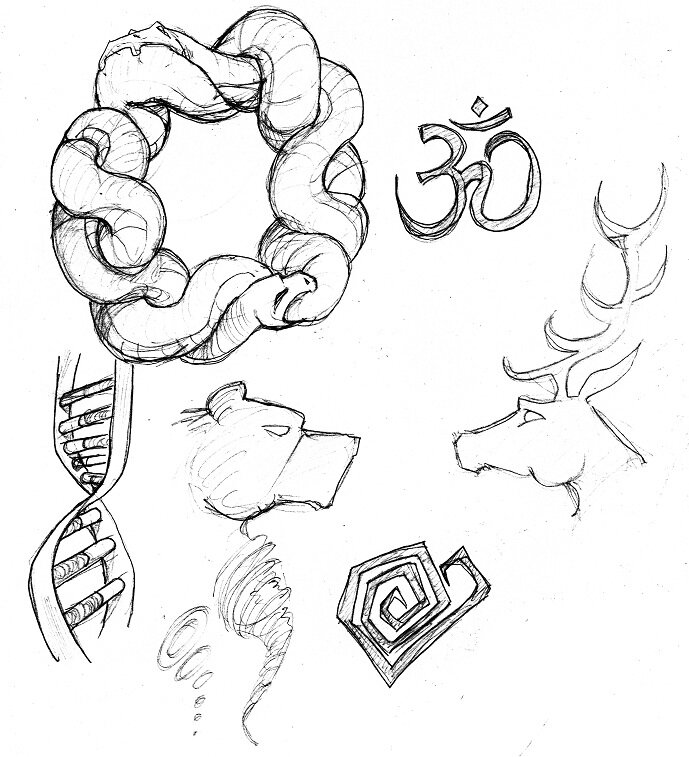 croquis 1 serpent adn cerf et ours