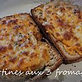 Tartines gratinées aux 3 fromages