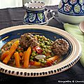 Tajine de boulettes de viande et petits pois-carottes