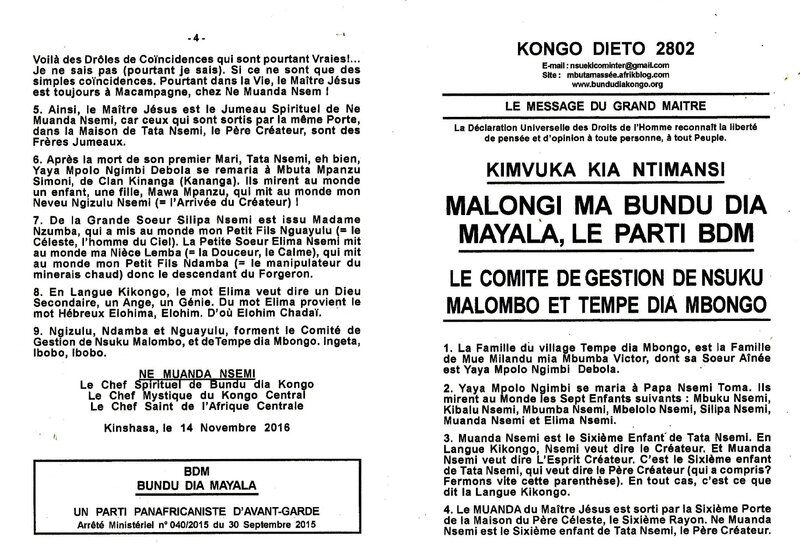 LE COMITE DE GESTION DE NSUKU MALOMBO ET TEMPE DIA MBONGO a