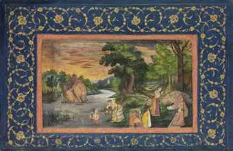 a_gathering_at_sunset_the_miniature_mughal_india_circa_1680_the_border_d5551114h