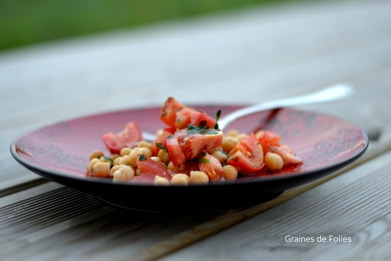 pois chiches tomates menthe