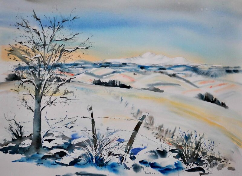 Maithé André aquarelle Le-Sancy-en-hiver-copie-1