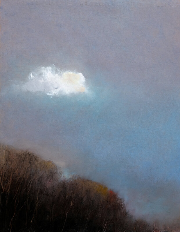 lonely cloud fev 2018, pastel à l'huile, 30 x 39 cm