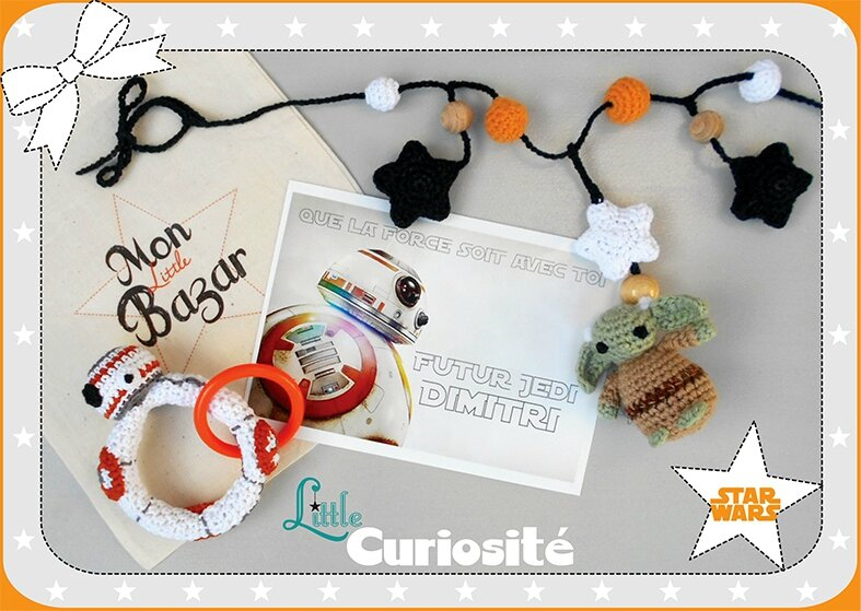 Cadeaux de naissance Crochet - Chaîne de poussette Yoda Hochet BB-8 - Starwars - fait main - Made in France (1)