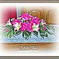 Bouquet (Pivoines Lys et petites orchidées) table salon Gouy sous Bellonne