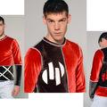 Sweat homme en velour rouge et noir surpiqué