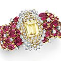 A diamond, rubellite tourmaline and yellow sapphire bracelet, by david webb