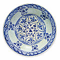 A large blue and white kubachi pottery dish, probably tabriz, north iran, early 17th century