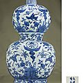 A large blue and white double-gourd vase