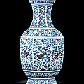A fine and extremely rare imperial doucai and famille-rose 'anbaxian' octagonal vase, qianlong period, 1736-1795