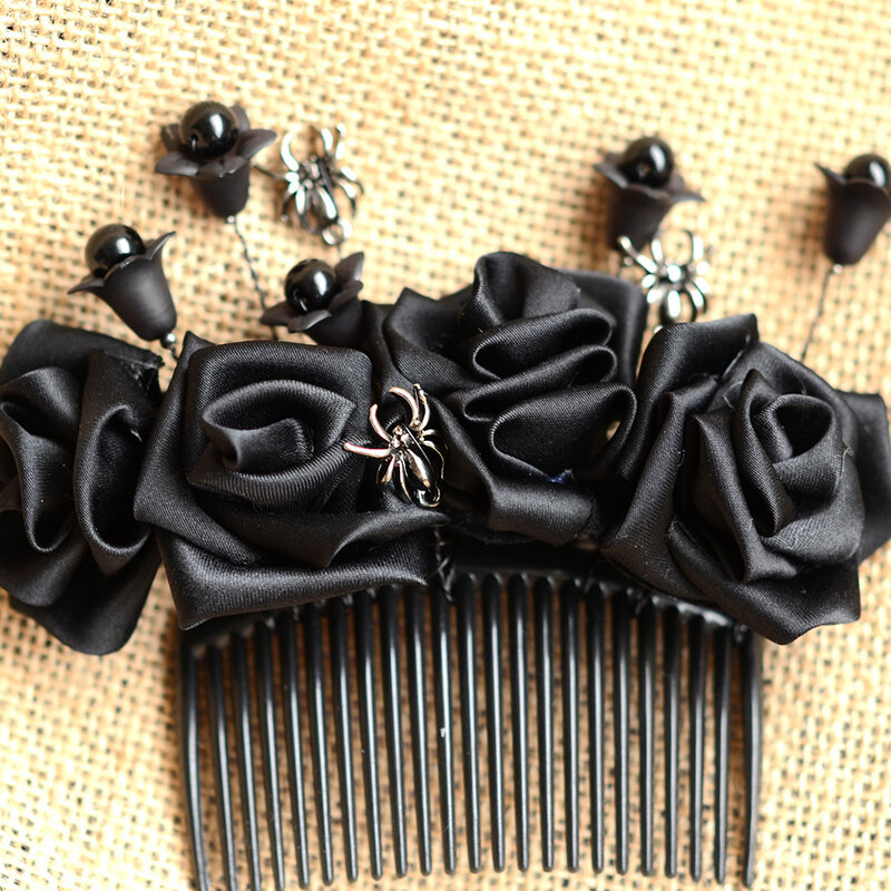 Halloween-Hair-Accessory-How-to-Make-a-Ribbon-Flower-Hair-Comb-8