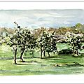 watercolor french landscape aquarelle valerie albertosi Boisemont