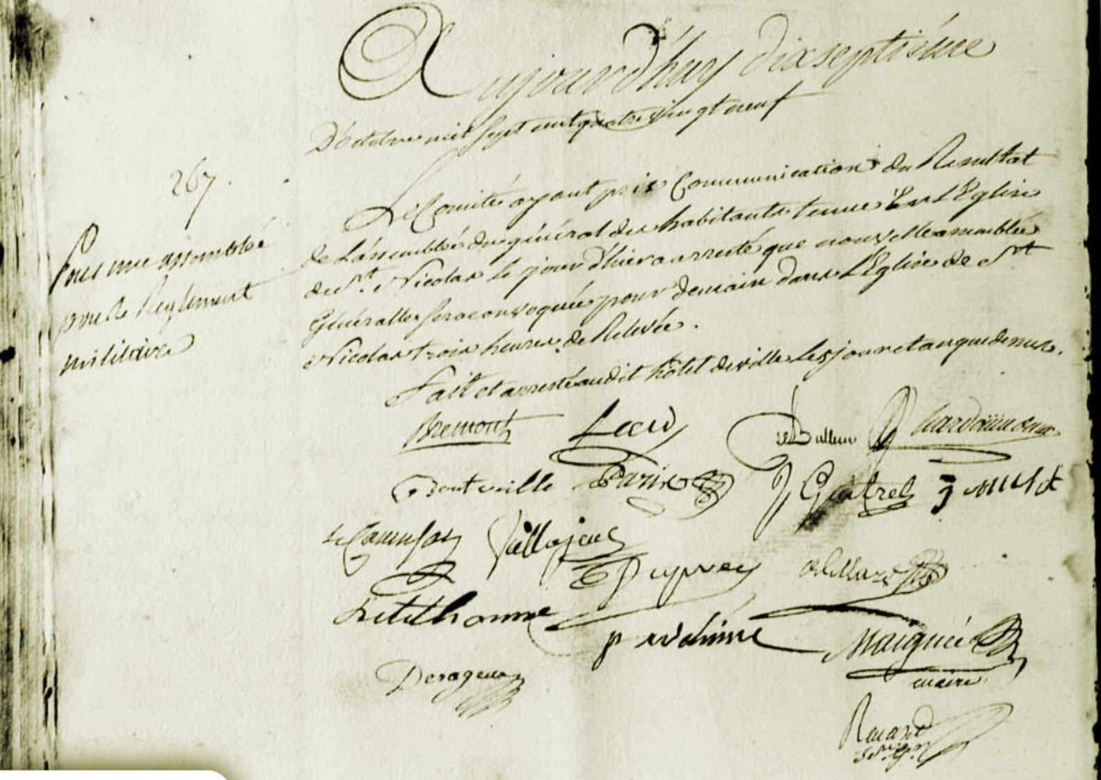 Le 17 octobre 1789 à Mamers : convocation d'une nouvelle assemblée générale.