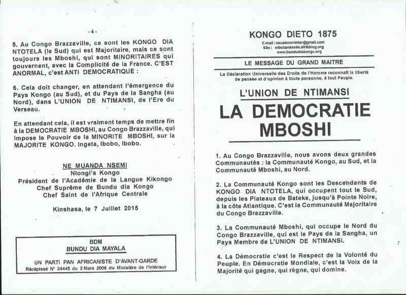 LA DEMOCRATIE MBOSHI a