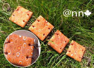 Bracelet Fimo cuivré carrés orange (N)