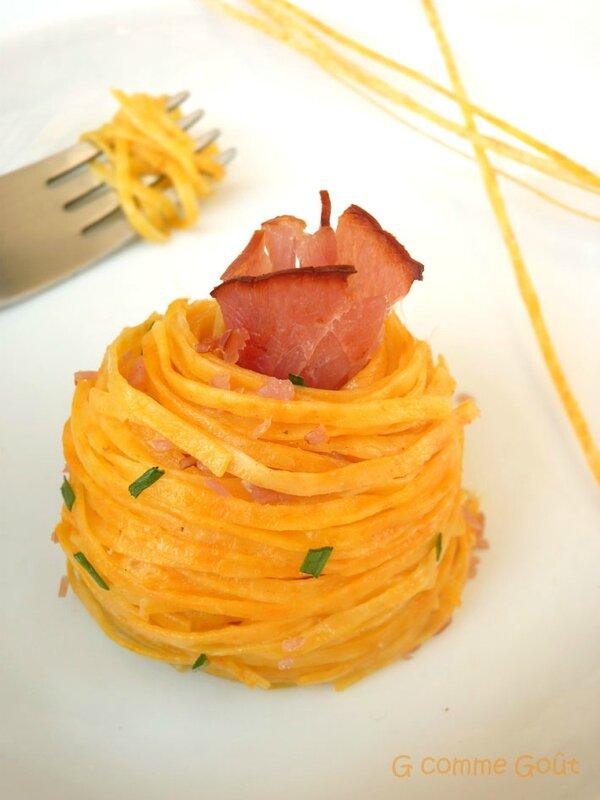 pates fraiches aux carottes et au bacon