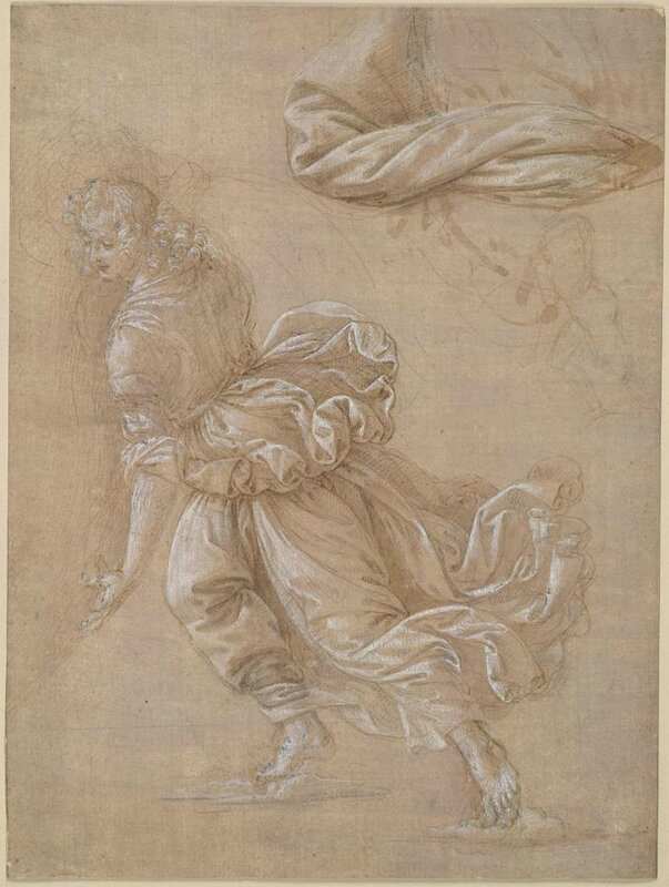 Lorenzo di Credi, Angelo that runs to the left and the study of drapery, (1474 - 1537