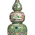 A large and rare famille-verte triple-gourd vase, qing dynasty, kangxi period (1662-1722)