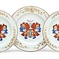 Three chinese export dutch market armorial dishes, circa 1735