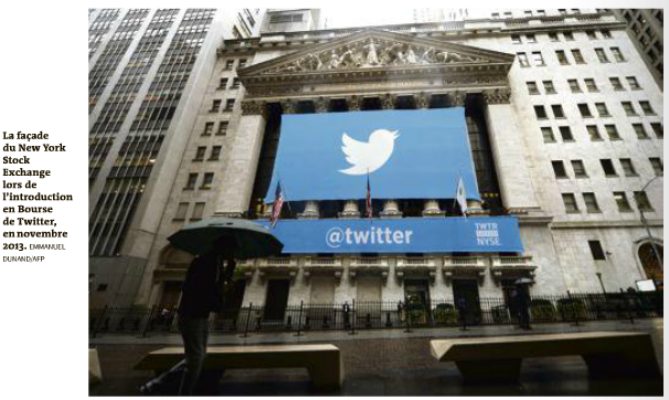 Facade NYSE introduction en bourse de Twitter nov 2013 Le Monde 12 oct 2016
