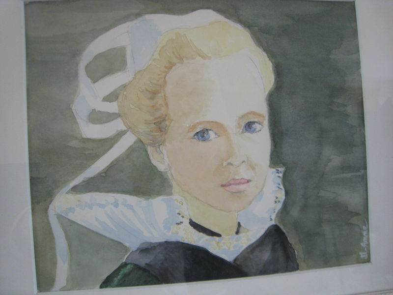 Jeune Bretonne-aquarelle