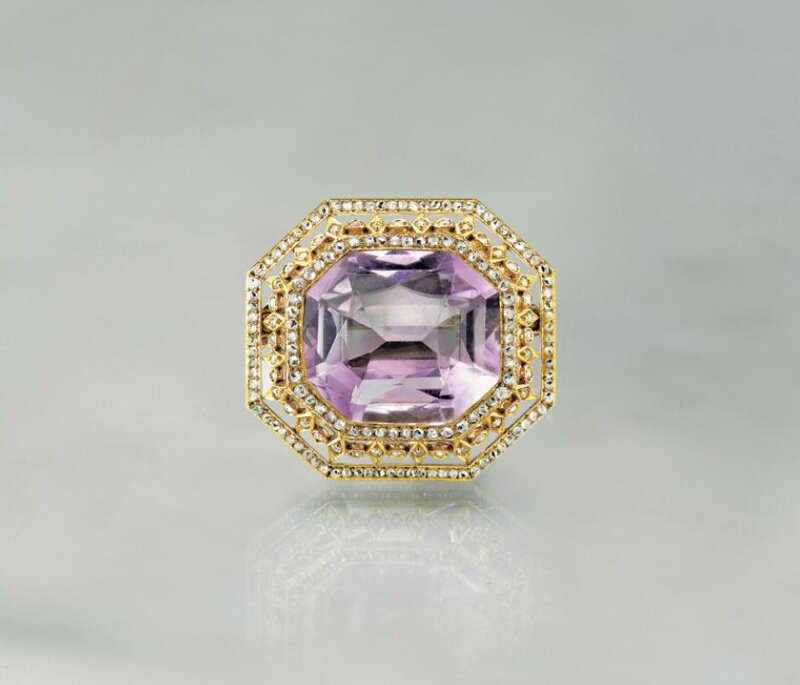 A Jeweled Gold and Amethyst Brooch By Fabergé
