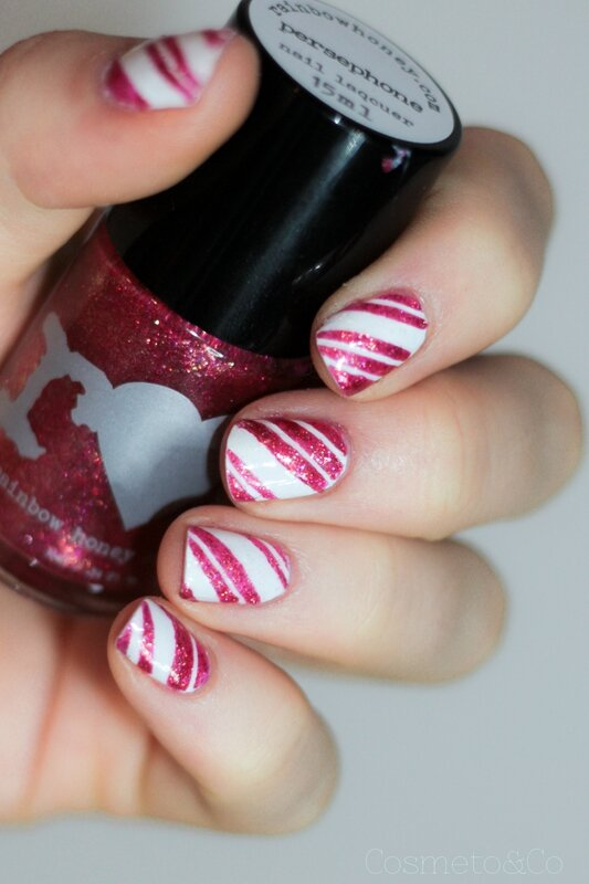 nail art candy cane rainbow honey Persephone