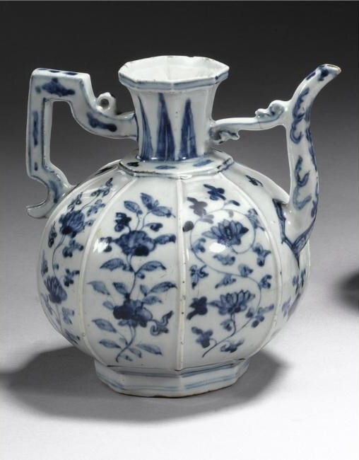 A rare blue and white ewer, Ming dynasty, early 16th century