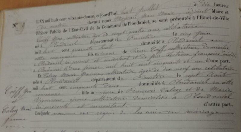 1872 Mariage à Ploudaniel