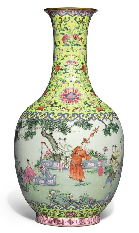 A fine famille-rose 'Boys at play' bottle vase, Jiaqing seal mark and period